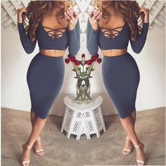 2 Piece Set Women Dress Winter 2015 European Fashion Sexy Club Dress Long Sleeve Midi Bandage Bodycon Party Dresses for Women-in Dresses from Women's Clothing & Accessories on Aliexpress.com | Alibaba Group