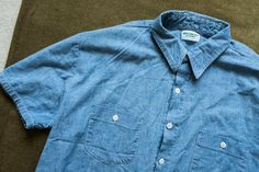 05b630a9625 1960 s Osh Kosh Summer Short Sleeve Chambray Work Shirt. XL