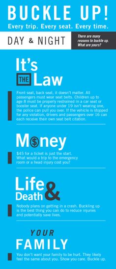 Buckle up, day & night - this palm card has all the facts you need! http://clickitutah.org