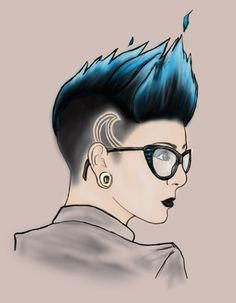Girl with mohawk and glasses