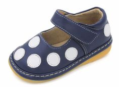 Squeaky Shoes | Navy Blue w/ White Polka-Dot Toddler Girl Mary Janes