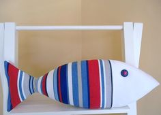 Nautical Pillow  Fish Pillow  Fourth of July  by CatherinePicone, $22.00
