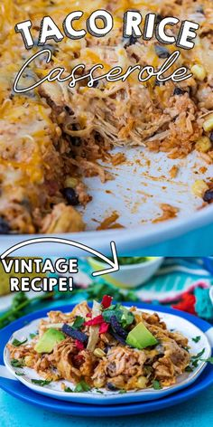 This easy Chicken Taco Rice Casserole is an easy dump and bake recipe that is ready in no time! It's filled with our favorite taco rice ingredients like chicken, chunky salsa, taco seasoning, corn, black beans, sour cream, cheese, and rice! via @easybudgetrecipes Easy Holiday Recipes, Best Dinner Recipes, Quick Recipes, Side Dish Recipes, New Recipes, Recipies, Budget Dinners, Easy Budget, Dinner On A Budget