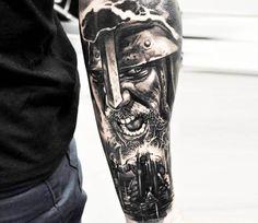 Perfect Black and grey realistic tattoo style of Vikings motive done by tattoo artist Jakub Hanus Forarm Tattoos, Hot Tattoos, Tattoos For Guys, War Tattoo, Tattoo Now, Viking Tattoo Sleeve, Sleeve Tattoos, Viking Warrior Tattoos, Tattoo Avant Bras