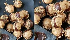 Nepečené máslovo-arašídové kuličky obalené v čokoládě