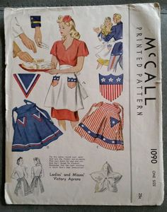 Vintage McCall 1940's Apron Sewing Pattern #1090 Patriotic Victory Complete in Collectibles | eBay