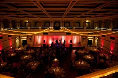 Soldiers & Sailors Memorial Hall & Museum | Pittsburgh | Wedding | Beth & Paul | Grand Ballroom | Caryn Azure Photography | Gold drapes | Red uplighting by Gray Phoenix Design