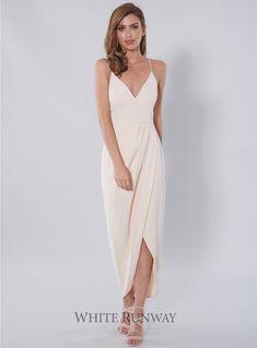 Core Dress. A stunning full length dress by Shona Joy. Shona Joy's signature style featuring a cross over draped hem, spaghetti straps and low v-neck.
