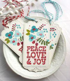 Folk Art  Style Peace Joy Love Holiday Christmas by pearliebird