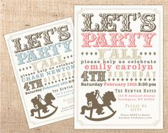 Rocking Horse Cowboy or Cowgirl Old West Vintage fonts Customizable Party Invitation. $16.00, via Etsy.