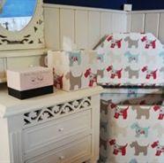 Loving these accessories in Scottie dog fabric! Bathroom, bedroom or nursery?