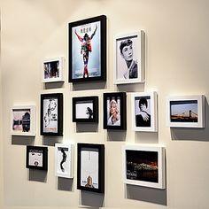 实木照片墙 13框时尚简约相片墙 相框墙 创意组合 沙发背景相框墙