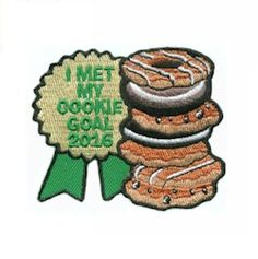 """iron-on embroidered patch. Teach your girls about goal-setting and reward them with our """"I met my Cookie Goal"""" patch for Girl Scout Badges, Brownie Girl Scouts, Girl Scout Cookie Sales, Girl Scout Cookies, Girl Scout Leader, Girl Scout Troop, Girl Scout Patches, Girl Scout Activities, Girl Scout Juniors"""