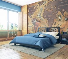 reversed world map, in beige and dark brown, with continents labeled as oceans, and vice versa, large wall art, covering a wall near a black bed, with white and blue bedding