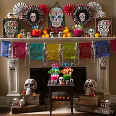 day of the dead mantel decorating ideas party city halloween decorating