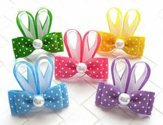 Polka Dot Bunny Ears Hair Bow ● Size: Approximately inches wide and inches tall ● Material: Grosgrain ribbon, heat sealed to Mais Easter Hair Bow Small Hairbow Polka Dot by OneofEverythingBows Look what I found on Easter Bunny Bow Clip Bunny hair bow Ribbon Hair Clips, Ribbon Art, Ribbon Hair Bows, Diy Hair Bows, Ribbon Crafts, Ribbon Flower, Hair Bow Tutorial, Flower Tutorial, Headband Tutorial