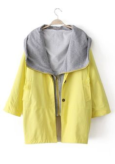 Yellow Turndown Collar Double-deck Cotton Blend Trench Coat