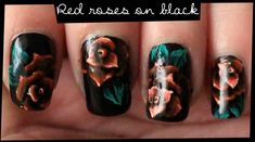 Red Roses on Black nail art