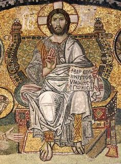 Christ Enthroned, Byzantine mosaic from the Narthex of Hagia Sophia, Istanbul - Seen this in the Hagia Sophia. Absolutely as vibrant today as the day it was finished. Early Christian, Christian Art, Religious Icons, Religious Art, Sainte Sophie, Art Roman, Byzantine Art, Byzantine Mosaics, Hagia Sophia