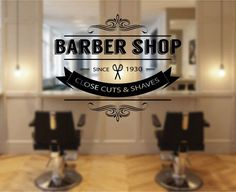 ik1976 Wall Decal Sticker hairdressing salon for men barbershop Showcases window