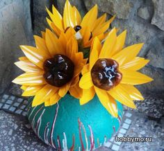 Sunflower from a plastic bottle