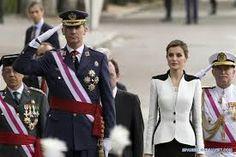 Los reyes de España Don Felipe VI  y Doña Letizia asisten a una ceremonia con motivo de la conmemoración del Día de las Fuerzas Armadas