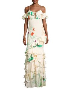 La Santa Maria Ruffled Floral Gown, White by Johanna Ortiz at Neiman Marcus.