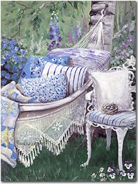 Nesting In Blue Romantic Print (Giclee) by Mary Kay Crowley from Cottages & Gardens