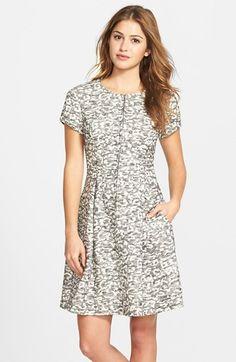 Eliza J Zip Front Leopard Knit Jacquard Fit & Flare Dress (Regular & Petite) available at #Nordstrom