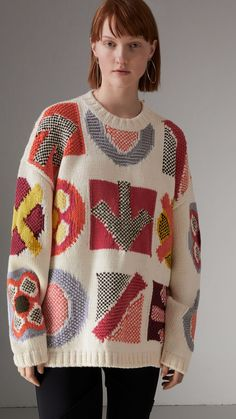 Luxury British Knitwear. Knitwear wool cardigan Knitted cape Knitted lambswool poncho geometric pattern detail