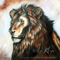 "Ilse Kleyn, ""He Who Overcame"", 100x100cm, oil on canvas. Rev_5:5 One of the elders said to me, ""Don't weep. Behold, the Lion who is of the tribe of Judah, the Root of David, has overcome; he who opens the book and its seven seals.""  Exo_19:16 On the third day, when it was morning, there were thunders and lightnings, and a thick cloud on the mountain, and the sound of an exceedingly loud trumpet; and all the people who were in the camp trembled."