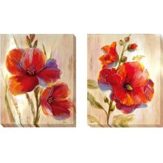Nan 'Flourescent Blooms I and II' 2-piece Canvas Set - Overstock™ Shopping - Top Rated Canvas