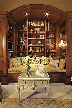 Absolutely love this cozy nook. The perfect place to spend an hour or an entire day! - Model Home Interior Design Traditional Home Offices, Traditional House, Traditional Kitchens, Home Office Design, House Design, Design Desk, Library Design, Furniture Design, Chair Design