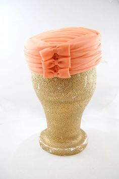A darling little truly peach colored pillbox hat. #pillbox #hat