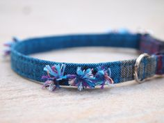 Blue Lagoon  Breakaway Cat Collar by CatPomPoms on Etsy