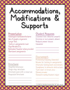 Organization Binder :: IEP Accommodations Cheat Sheet Great idea as a quick reference guide for gen ed teachers.