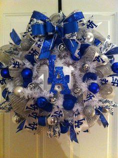 LA Dodgers Christmas Wreath holiday sports baseball by Vivamor, $85.00