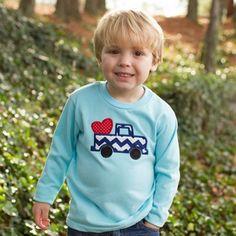Smockadot Kids: Boy's Aqua Heart Truck T-Shirt