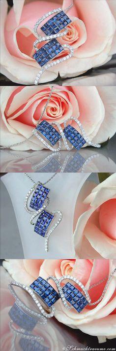 Ceylon Sapphire Diamond Pendant, 2.99 ct. WG-18K - Visit: schmucktraeume.com Mail: info[at]schmucktraeume.com Like: https://www.facebook.com/pages/Noble-Juwelen/150871984924926