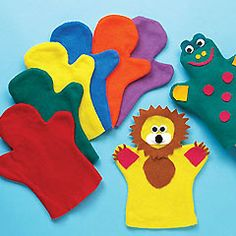 Children of all ages will love making their own characters from these colourful felt hand puppets. Decorate with beads, sequins, wiggle-eyes, etc. Hours of fun!