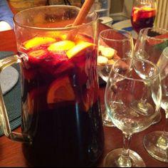 Fruit Supreme Sangria - 1 bottle of red wine (cab shiraz, can sauv, merlot) - 4 oz Sourpuss Raspberry - 4 oz Banana Liquor - 3 oz Gin - 2 oranges (cut small) - 2 limes (cut small) - 6-8 strawberries (cut small) - 4 cans of Ginger ale Ice and enjoy!