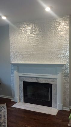Pearls and Glass tile fireplace