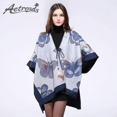 Butterfly Print Women Poncho Cape Luxury  Winter Scarves