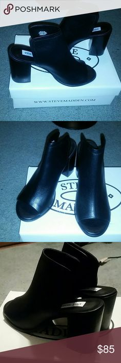 NIB Steve Madden nectar block heel booties mules 8 Never worn. So trendy and beautiful! :) 3.25inch heel. Sold out everywhere! Taking offers!! Steve Madden Shoes Mules & Clogs
