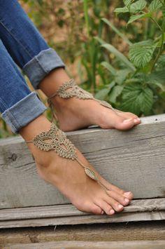 Playa boda blanco Crochet sandalias descalzo desnudo zapatos