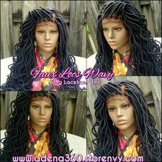 Long Wavy faux locs lacefront wig. Click link for ordering info:  www.adena360.storenvy.com