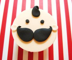 Mustache baby cupcake topper for baby boy baby shower, lil man, little man. $15,00, via Etsy.