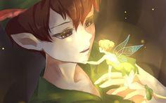 Peter Pan and Tinkerbell - green, wings, peter pan, boy, art, magical, tinkerbell, disney, fairy, fantasy, redhead