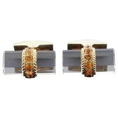 Tiffany & Co. France Crystal Citrine Gold Cufflinks