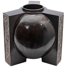 Art Deco Japanese Tobei/Showa Period Patinated Bronze Vase Circa 1935 | From a unique collection of antique and modern vases at http://www.1stdibs.com/furniture/more-furniture-collectibles/vases/